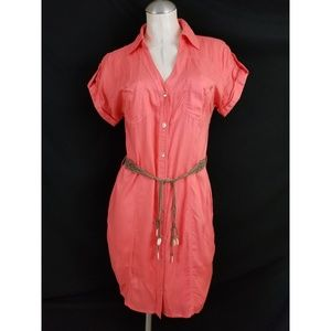 Guess Size S Coral Shirt Dress Midi